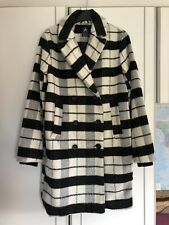 Primark Atmosphere Black Grey White Check Jacket Pea Coat 6 8 Winter Lined