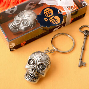 1 Silver Gothic Skeleton Sugar Skull Key Chain Halloween Wedding Party Favor