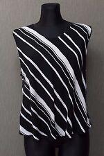 GUDRUN SJÖDEN Damen Top Gr. XL Shirt Viskose Zebra Sjoden schwarz weiss $10