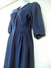 Vintage 1940s 40s WWII Era SIlky Rayon DRESS Draped Midnight Blue Gathers S B34