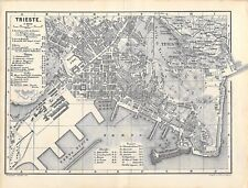 Triest Italien um 1882 historische alte Landkarte Stadtplan map