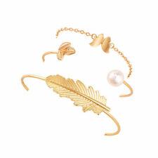 3pcs Bohemian Bangles Sets Adjustable Gold Retro Punk Leaf Butterfly Bracelets