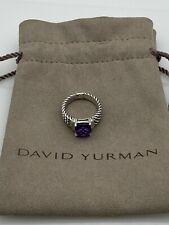 David Yurman Sterling Silver Petite Amethyst & Diamond Wheaton Ring Size 5