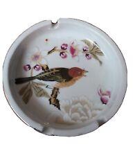 New listing Vintage Shafford Ashtray Chinese Garden Bird Blossom Gold Trim Porcelain