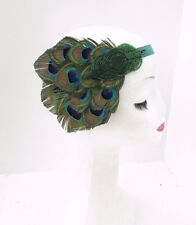 Green Peacock Feather Headband 1920s Flapper Vintage Headpiece Great Gatsby 3550