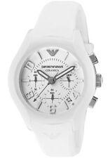 Emporio Armani Ceramica AR1431 White Silicone Band Chronograph Date Watch $445