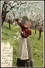 Sehr schöne Künstler Litho-AK sign. MAILICK Pfingsten, Frau bei Kirschblüte 1902