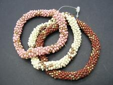 $28 Spring Street Pink/White Multi Seed Beaded Stretch Bangle 3 pc Bracelet SET