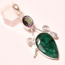 Emerald With Mystic Topaz Gemstone 925 Stamped Pendant Jewelry 2.8 Inch 5996