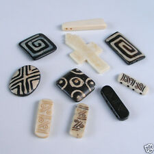 Buffalo Bone Beads Round Squares Rectangles Mixed Sizes Color Designs