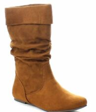 NEW Women's Causal Pull Up Slouchy Mid Calf Flat Boots Shoes Large Size 7 - 11