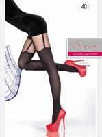 Fiore Milla Collant Fin Noir 40DEN S-L Nylon Collants 36-46 Jarretelles