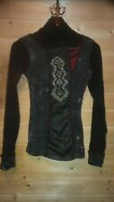 LADIES SAVE THE QUEEN LONG SLEEVE STRETCH STYLISH TOP SZ M EUC