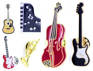 Musical instrument brooch / pin, trumpet, guitar, piano, cello, music note