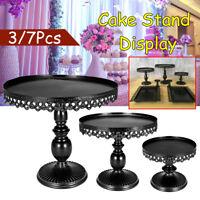 3/7Pcs Round Black Cake Cupcake Stand Display Dessert Holder Wedding Party Decor
