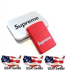 Supreme Logo Red Flip Top Refillable Oil Lighter