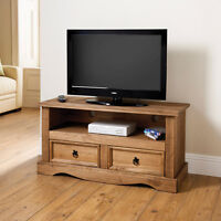Rio PINE WOOD WIDE SCREEN TV UNIT WITH 2 DRAWER MEDIA UNIT