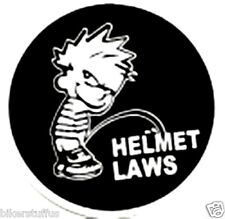 CALVIN PEE ON HELMET LAWS HELMET STICKER