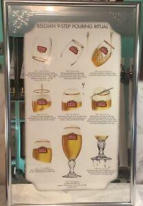 Stella Artois Belgium 9 Step Pouring Ritual Beer Bar Mirror 33x21