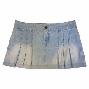 Y2K 2000s 90s Low Waisted Vintage Denim Pleated Cargo Mini Skirt Size UK 10 - 12