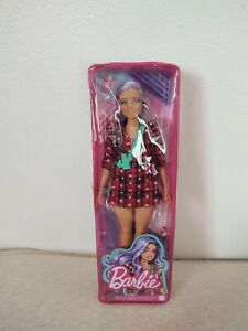 Barbie Fashionistas Doll #157 Curvy With Lavender Hair Wearing Red Plaid Dress