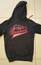 BLACK SUPERDRY PULL OVER HOODIE, SIZE SMALL WITH PINK LOGO