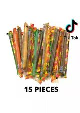 Tik Tok Fruit flavored jelly straws Sticks 15 assorted candy sample Tiktok
