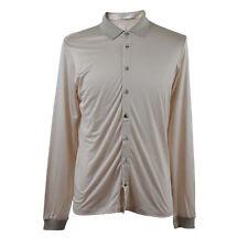 Malo Men's Beige 100% Silk Long Sleeves Button Down Shirts Size US M IT 50