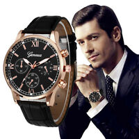 Stylish Men's Leather Stainless Steel Military Casual Analog Quartz Wrist Watch