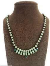 Fossil Green Set Stone Mini Bollywood Necklace Crystals Goldtone New! NWT