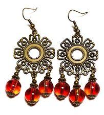 Red Chandelier Earrings Antique Bronze Style Pierced Hook Drop Dangle Boho Hippy