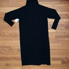 WILFRED BLACK SWEATER DRESS / LEG CUT-OUT RIBBED SLEEVES TURTLENECK