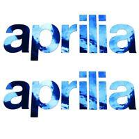 APRILIA Chrome Bleu texte Décalques Stickers graphique MOTO 2 pièces moyen