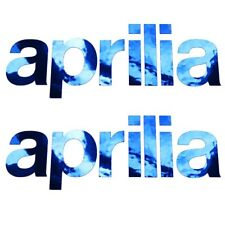 APRILIA Cromo Azul Texto MOTO PEGATINA dibujo ADHESIVOS x 2 piezas Medio
