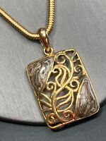 """Vintage Gold enameled Grey Brown Detailed Pendant Necklace W/ 16"""" Snake Chain"""