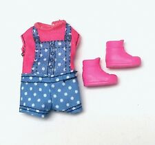Barbie Sister Chelsea Doll Clothes Pink & Blue Polka Dot Jumper + Shoes New