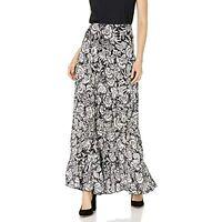 MSRP $99 Karen Kane Women's Crushed Tiered Maxi Skirt Print Large Size Large