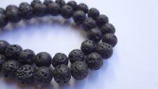 "8mm Round Genuine Black Lava Rock Gemstone Beads - 15"" Strand"
