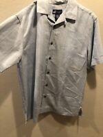 Caribbean Joe Men's Short Sleeve Button Down Hawaiian Shirt Blue Size Medium