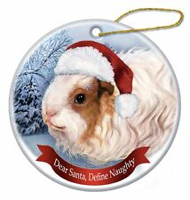Holiday Pet Gifts Texel Guinea Pig Santa Hat Porcelain Christmas Tree Ornament