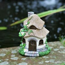Solar Garden Ornament Fairy Pixie Secret House Brown Roof House Outdoor