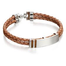 Fred Bennett Bracelet Tigers Eye Inlay Silver Tan Leather ID Bracelet B4974