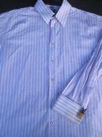 English Laundry Mens Button Front Long Sleeve Cotton Stripe Shirt 16 1/2