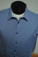 Jhane Barnes Shirt Button Front Blue Cotton Checks L Large Slim Fit W39