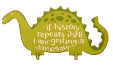 Green Wooden Wood Dinosaur Self Standing Stand up Desk Sign Plaque History New