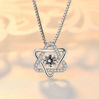 Genuine 925 Sterling Silver Solid Crystal Star Pendant Necklace Chain Stunning
