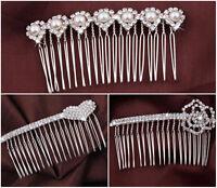 Haarschmuck Haarkamm GOLD Strass Perlen Braut Tiara Haarspange Hochzeit Diadem