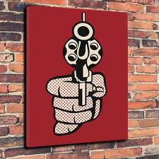 """Pop Art """"Gun"""" Canvas Print A1.30""""x20""""~Deep 30mm Frame"""