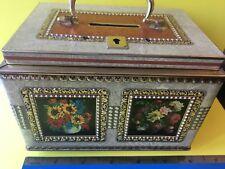 vintage tin  money box  flowers  Piggy Bank tins