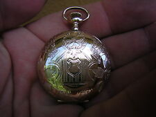 ANTIQUE VINTAGE ORNATE GOLD GF ELGIN POCKET WATCH HUNTER CASE MINTY CASE SZ 0.